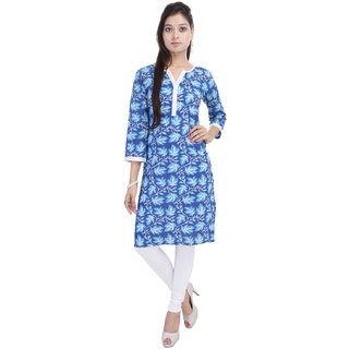 Tami Blue Cotton Printed Kurti