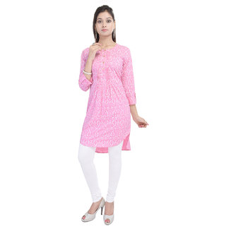 Tami Pink Cotton Printed Kurti