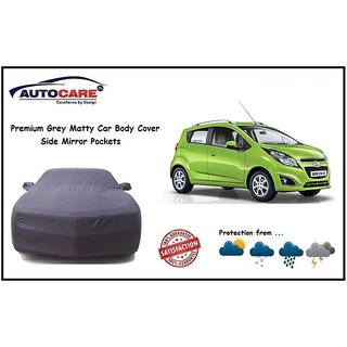 De AutoCare Grey Matty Car Body Cover Mirror Antenna Pocket For Chevrolet Beat