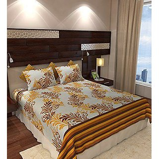 Akash Ganga Multicolour  Cotton Double Bedsheet with 2 Pillow Covers (SW01)