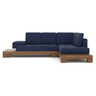 Tezerac -Grindavik Wooden L Shape Corner Sofa - Blue