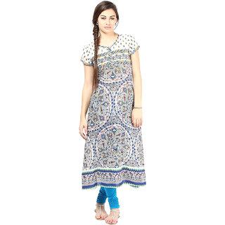 Prakhya Printed Womens Long straight cotton kurta-SW2037BLUE