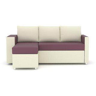 Tezerac -Columbus L Shape Designer Lounge - White  Voilet