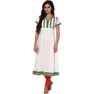 Prakhya Printed Womens Long straight cotton kurta-SW2032ORANGE