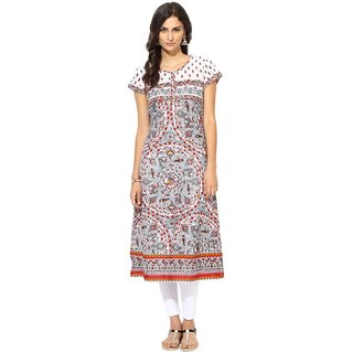 Prakhya Printed Womens Long straight cotton kurta-SW2037ARED