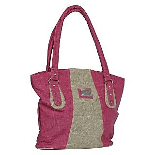 Fashno Ladies Hand Bag Pink and Cream Colour
