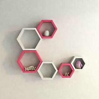 Onlineshoppee Set Of 6 Hexagon shape Designer Storage Shelves - Pink White