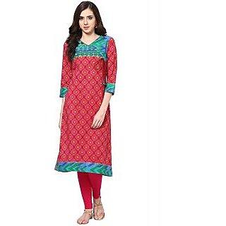 Prakhya Printed Womens Long straight cotton kurta-SW2031RED