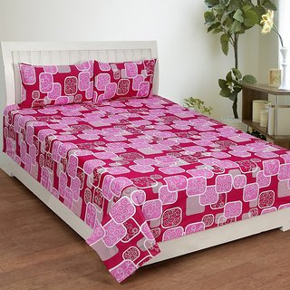 Star Trendz Cotton Double Bed Sheet With 2 Pillow Cover Vi1842 Pink
