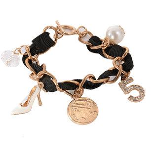Adornia Black and gold charm Bracelet