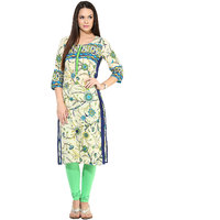 Prakhya Printed Womens Long straight cotton kurta-SW791BLUE