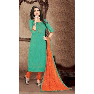 Saara Green and Orange Embroidered Banglori silk and Santoon Dress Material