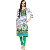 Prakhya Printed Womens Long straight cotton kurta-SW789BLUE