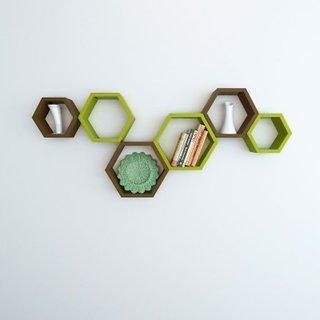 Onlineshoppee Set Of 6 Hexagon shape Designer Storage Shelves - Brown Green