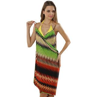 Sexy Backless Style Mehroon Green Zig Zag Print Summer Wrap Skirt Beach Dress