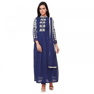 Aaina Blue Georgette Embroidered Suit (SB-3169) (Unstitched)