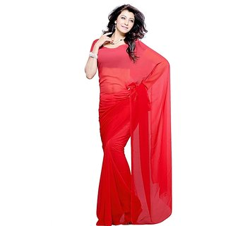 50367465a2e44 Buy M G Fashion Red Faux Georgette Saree with Blouse Online   ₹3650 from  ShopClues