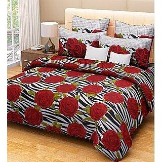 Akash Ganga Multicolour Cotton Double Bedsheet with 2 Pillow Covers (SW04)