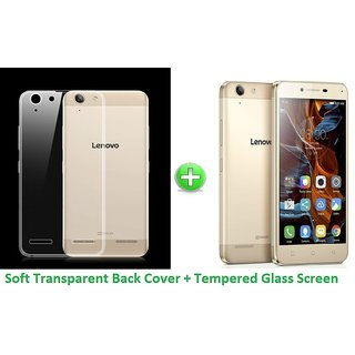 Ultrathin Soft Jelly Back Cover + Tempered Glass Screen Guard For Lenovo Vibe K5+ Plus