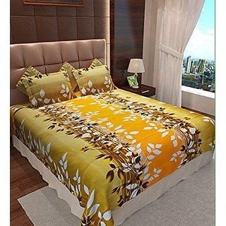 Akash Ganga Multicolour Cotton Double Bedsheet with 2 Pillow Covers (SW05)
