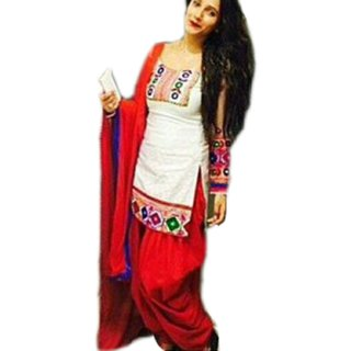 Clickedia Womens Cotton Embroidered White red Patiala Suit- Dress Material