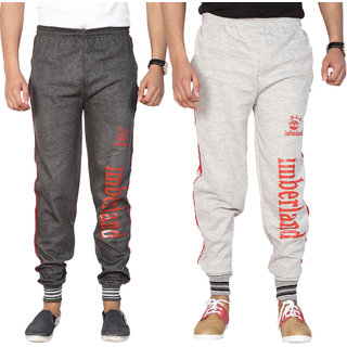 Swaggy Men's Black & Grey Cotton Blend Trackpants Combo of 2