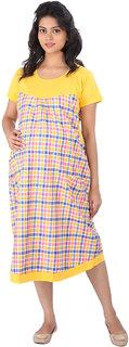 MomToBe Yellow Cotton Maternity Dress (momyellowckd1112)