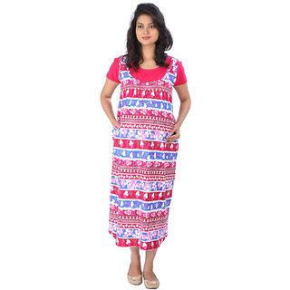 MomToBe Pink Rayon Maternity Dress (mohpinkd1065)