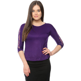 Vvoguish Purple Viscose Round Neck Elbow Sleeve Crop Tops For Women