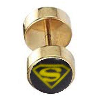 Men Style   Gold  Alloy Dumbell Stud Earring For Men And Boy
