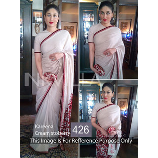 Galaxy Trading House White Georgette Embroidered Saree With Blouse