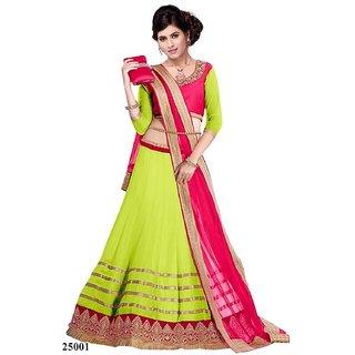 6a589b83b5 Clickedia Womens Net Lehenga Choli(05 green pink lehengagreen pinkFree Size)