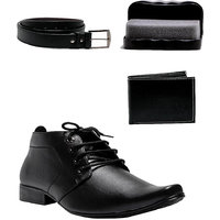 AT Classic Mens Black Lace-up Formal Shoes (Pack Of 2)