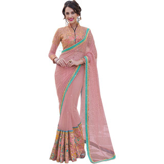 Khushali Fashion Pink Net Embroidered Saree With Blouse