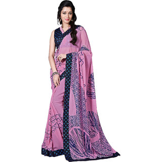 Khushali Fashion Blue & Pink Georgette Printed Saree With Blouse