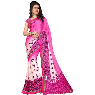 Khushali Fashion Pink & Cream Satin Printed Saree With Blouse