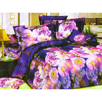 Dekor World Floral 3D Print Bedsheet W/Pillow Cover(DWBS-486)