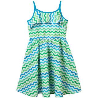 Beebay Girls 100 Cotton Woven Chevron Printed Raffle Dress (Blue)