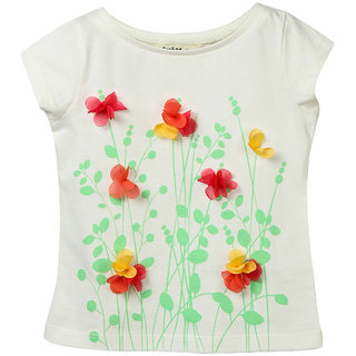 Beebay Girls 100 Cotton Knitted Flower Applique T-shirt (Off-White)