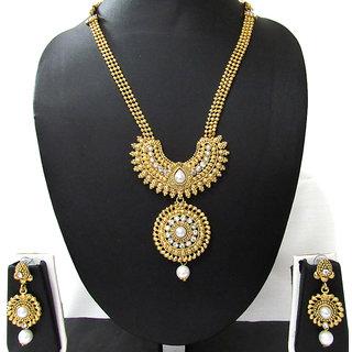 Golden white drop Round big pendant necklace set
