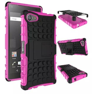 Heartly Flip Kick Stand Spider Hard Dual Rugged Armor Hybrid Bumper Back Case Cover For Sony Xperia Z5 Compact - Cute Pink