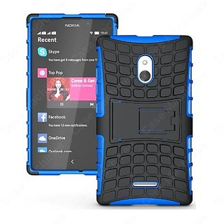 Heartly Flip Kick Stand Hard Dual Armor Hybrid Bumper Back Case Cover For Nokia Xl - Blue