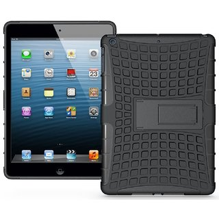 Heartly Flip Kick Stand Spider Hard Dual Rugged Armor Hybrid Bumper Back Case Cover For Ipad Air 5 Tablet - Rugged Black