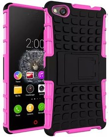 Heartly Flip Kick Stand Spider Hard Dual Rugged Armor Hybrid Bumper Back Case Cover For Zte Nubia Z9 Mini Dual Sim - Cute Pink