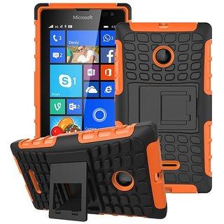 Heartly Flip Kick Stand Spider Hard Dual Rugged Armor Hybrid Bumper Back Case Cover For Microsoft Nokia Lumia 435 Dual Sim - Mobile Orange