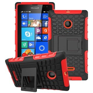 Heartly Flip Kick Stand Spider Hard Dual Rugged Armor Hybrid Bumper Back Case Cover For Microsoft Lumia 532 Dual Sim - Hot Red