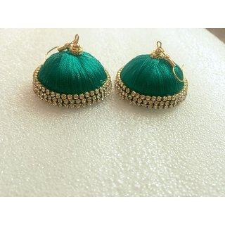 Green Color Silk Threaded Jhumkas