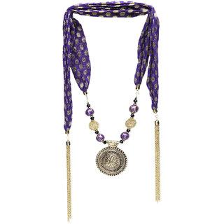Purple brocade lariat cum neck piece