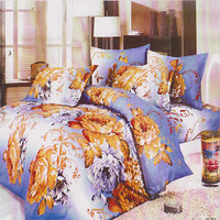 Handloomdaddy Beautiful Blue&white Color Double Bed Sheet(dv04)