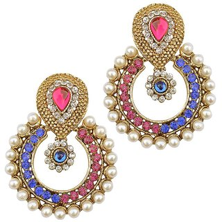 Women Multicolor Jewellry Pearl And Ad Bollywood Designer Diamond Girls Earring Set